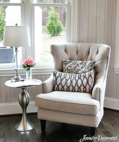 Side Chair & Table in office?Cottage style decorating ideas from Jennifer Decorates.com