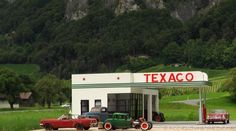 Texaco gas station diorama ´32-Ford-65 Mustang