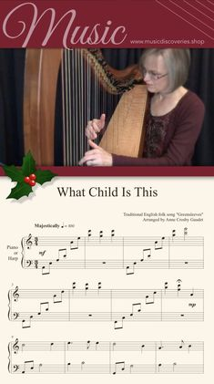 Play Piano By Ear This majestic arrangement of What Child is This sounds beautiful on the harp. Comfortable patterns make this a rewarding piece to learn yet it's impressive enough to play for others. Easy Piano Sheet Music, Piano Music, Traditional Christmas Carols, What Child Is This, Music Download, Piano Lessons, Christmas Music, Pattern Making, Songs