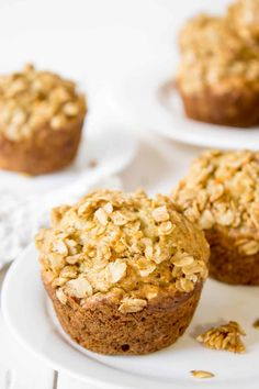 Oatmeal banana muffins with an oatmeal crumb topping.