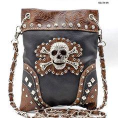 Mini Messenger Handbag Black Bling Skull #BHW #ShoulderBag