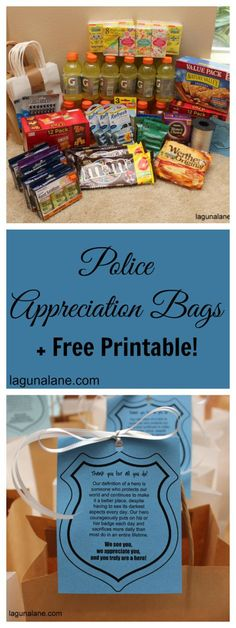 """Police Appreciation Bags + FREE Printable Tags Support police officers and tell them """"thank you"""" by putting together and distributing police appreciation bags full of treats and useful items! Free printable tags and shopping list included in post. Police Officer Gifts, Police Gifts, Community Service Projects, Service Projects For Kids, Community Helpers, Church Outreach, Mission Projects, Blessing Bags, Free Printable Tags"""