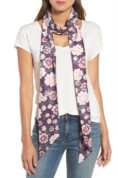 Mirrored Floral Silk Skinny Scarf by Treasure & Bond on @nordstrom_rack
