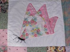 Vintage Hankie Butterfly Quilt Square * Hand embroidery * embroidered * crewel work * DIY inspiration * quilt square * Altered Art * paper piecing * great way to use vintage or vintage style fabrics * So intricate! Quilt Block Patterns, Pattern Blocks, Quilt Blocks, Quilt Baby, Quilting Projects, Sewing Projects, Handkerchief Crafts, Decoration Shabby, Design Creation