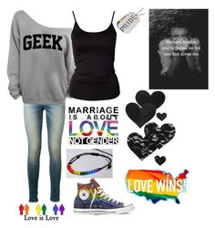 """""""<3"""" by clairestone ❤ liked on Polyvore featuring Bristols6, rag & bone, ONLY, Converse and lovewins"""