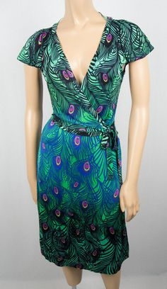 MATTHEW WILLIAMSON For H Wrap Dress S Peacock Casual Summer Knit Tie Front