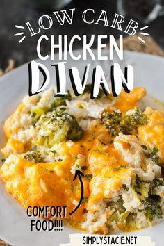 Low Carb Chicken Divan - You won't even miss the carbs! This comforting casserole has a creamy sauce made with chicken, broccoli, cheddar cheese and cauliflower rice.