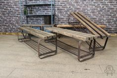 This fantastic industrial bench comes from our extensive collection of vintage and industrial furniture. These benches feature a curved metal and tubular construction base, with a small tubular section for bags or shoes. The top is made up of three large solid pine rustic slats. Originally acquired from Eastern Europe, this late 1940s bench has ... READ MORE