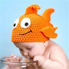 >> Click to Buy << 2017 Super Lovely Newborn Baby Boys Girls Goldfish Cap Knit Hat Costume Photography Prop Infant Handmade Costume For 1-3 Months #Affiliate