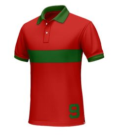 Portugal Men's Polo Shirt - Solidify your loyalty as a supporter of Força Portugal with this polo.  Made from 100% cotton. This predominantly red polo has a green collar, hems, and a horizontal stripe across the chest. The number 9 has been added for more detail.  http://www.tailor4less.com/en/collections/custom-polo-shirts/world-cup-polo-collection/portugal-mens-polo-shirt