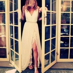 White Long Lace V Neck Side Split Elegant Prom Dresses, Simple Cheap Wedding Dresses, PD0020