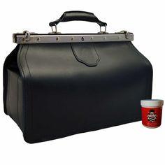 doctor´s bag, Arzttasche Baron von Maltzahn, black leather, Made in Germany Saddle Leather, Cowhide Leather, Cow Leather, Real Leather, Leather Bag, Dark Brown Leather, Natural Leather, Gladstone Bag, Medical Bag