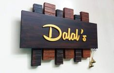 Wooden Name Plates, Door Name Plates, Name Plates For Home, Personalized Name Plates, Name Board Design, Name Plate Design, Wooden Pallet Projects, Wooden Pallets, Wooden Door Hangers