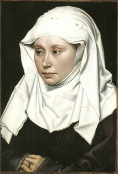 Robert Campin, ca. 1435  (Campbell, p. 75)  Portrait of a Woman  Headdress made of three pieces of linen with fluted or goffered edges. Purple houppelande with gray fur lining.