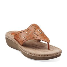 Amaya Daisy in Orange Leather - Womens Sandals from Clarks