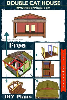 This step by step diy project is about double cat house with insulation plans. After designing the simple insulated cat house, I had the brilliant idea of making a few modifications so it can accommodate two cats. Cat House Plans, Build A Dog House, Double Dog House, Insulated Cat House, Porch Supports, Wooden Cat House, Wooden Playhouse, Outdoor Cats, Diy Shed