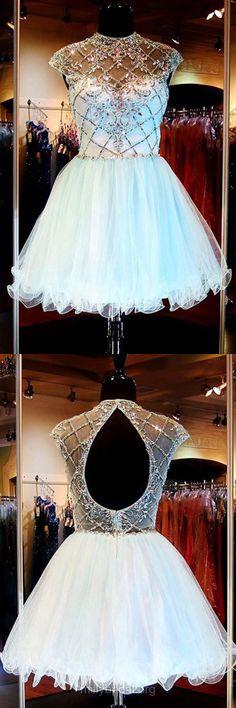 Short/Mini Homecoming Dresses,Light Sky Blue Party Dresses,Open Back Tulle Beading Cocktail Dresses,Scoop Neck Prom Dresses
