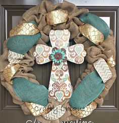 Burlap Cross Wreath; Easter Wreath; Spring Wreath; Cross Wreath by CraftyChique06 on Etsy https://www.etsy.com/listing/226826192/burlap-cross-wreath-easter-wreath-spring