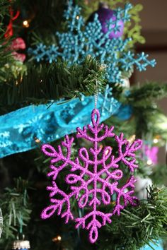 2012 Christmas tree...aqua, purple, and green
