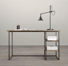 """Fulton Desk. Restoration Hardware. $595. Paying tribute to the adage """"less is more,"""" our simple, functional design is a study in minimalism – pairing an angular, open steel frame with antique reclaimed elm doors. 55""""W x 24""""D x 31""""H."""