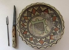 Medieval Serbian fork, dish knife and plate made of maiolica porcelain, 13th century, found in the area of Ras fortress, capital of the Medieval Serbian state during 12th and 13th century, located in present-day south-western Serbia - Collection of Ras museum in Novi Pazar