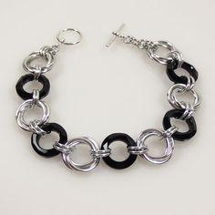 Crystal Love noeuds cotte de mailles Bracelet, cristal Swarovski Jet noir Bracelet Bijoux