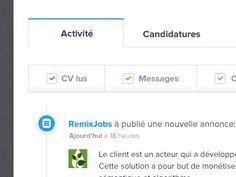 RemixJobs new Activity tab UI design by Julien Renvoye