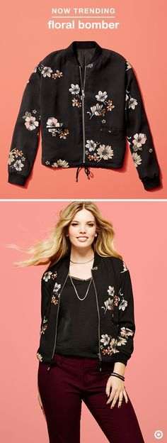 Florals are ruling the runway this season in sexy, sassy and easy-to-wear ways. Rock the floral trend with this gorgeous bomber for a bit of elegance and ease. As perfect with jeans as it is over your LBD, this piece is a fall fave, for sure.