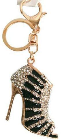 Charm Crystal Shoe High Heel Keyring Purse Pendant Bag Key Chain Black ad75366eb0b3