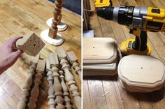 make candlestick centerpieces from table legs and wood plaques from the craft store