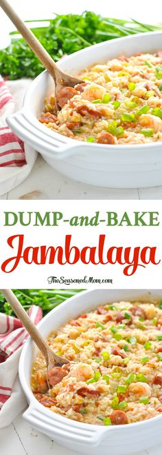 There's no prep work necessary for this easy Dump-and-Bake Jambalaya! One Pot Meals | Easy Dinner Recipes | Shrimp Recipes #shrimp #rice #dinner #TheSeasonedMom