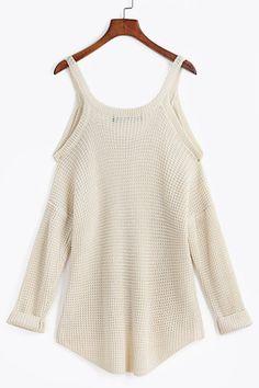 f8dd2f83343b8 Beige Cold Shoulder Long Sleeve Knitted Shirt
