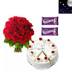 Midnight 12 Roses with Pineapple Cake and Chocolates : buy flowers online, buy cake online, send flowers, cakes to India