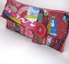 Red Upcycled Clutch Bag Unique Handmade Fashion by itzaChicThing, $65.00