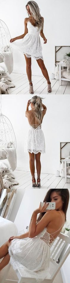 Stylish A-Line Spaghetti Straps Backless White Short Homecoming Dress With Lace,90206