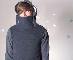 Handmade men's cowl sweatshirt hoodie grey made to order SIR CYCLE. $60.00, via Etsy.