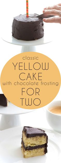 Best low carb yellow cake recipe with a rich chocolate frosting. Just for two! Grain-free, THM, Banting, Atkins