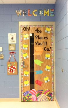 Classroom door-  Dr. Seuss.  Students can write colleges and careers they are interested in completing.