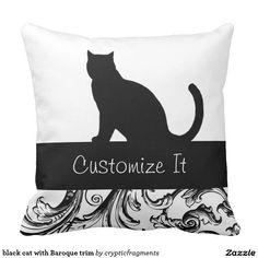 black cat with Baroque trim custom Throw Pillows