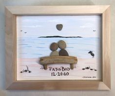 Pebble art in a shadow box, happy anniversary to the perfect couple snuggling on. Pebble art in a shadow box, happy anniversary to the perfect couple snuggling on the beach. Sea Glass Crafts, Sea Glass Art, Seashell Crafts, Beach Crafts, Stone Crafts, Rock Crafts, Fun Crafts, Diy And Crafts, Arts And Crafts