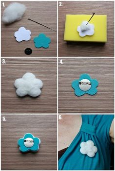 DIY Cloud brooch :D