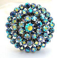 Vintage Weiss Brooch Blue Rhinestone Sash Ornament Hair Jewelry Pin Rockabilly