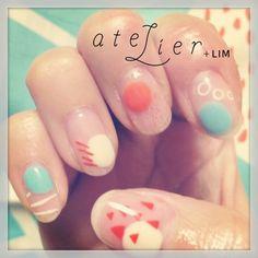ZOZOPEOPLE | atelier+LIM - コト Asian Nail Art, Asian Nails, Love Nails, Pretty Nails, Hello Kitty Nails, Modern Nails, Stiletto Nail Art, Red Nail Designs, Japanese Nails