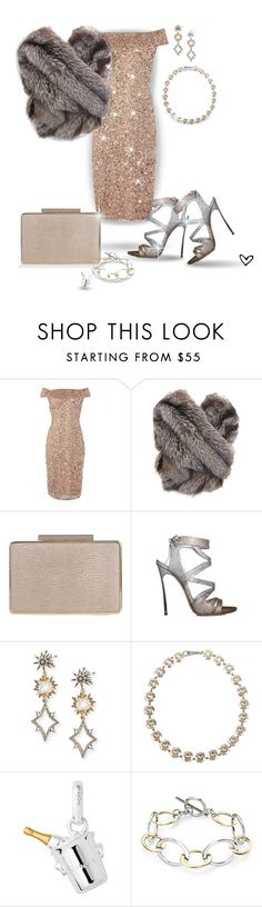 """~Silver & Gold~"" by justwanderingon ❤ liked on Polyvore featuring Adrianna Papell, L.K.Bennett, Casadei, Lulu Frost, Bottega Veneta, Links of London, Blue Nile and silverandgold"