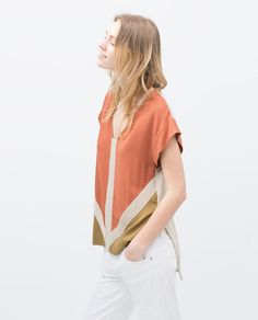 orange apricot salmon top | ZARA summer 2015 #springtype #lentetype