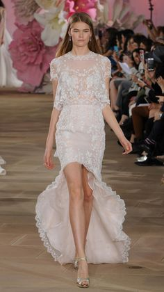 Ines Di Santo Spring 2017 high-low wedding dress with sheer bodice and embroidered appliques