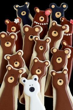 You can use a bunny cookie cutter to make these simple bear cookies. Polar bears, black bears and grizzly bears-sugar cookies decorated with royal icing.