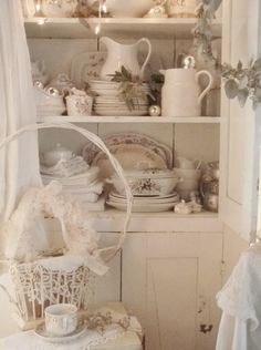 . . . Cabin & Cottage : White Winter Cupboard