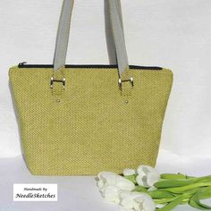 A structured tote bag with a cream leather rectangular base. Handmade Fabric Bags, Green Shoulder Bags, Slow Fashion, Bag Making, Straw Bag, Lime, Tote Bag, Cream, Leather