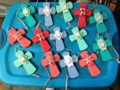 """Chalk painted Pendant """"rear view mirror"""" crosses. By Cathy"""
